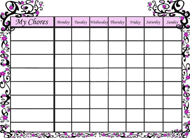 free printable chore chart templates