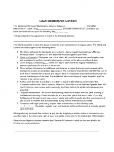 free printable construction contracts lawn maintenance contract d