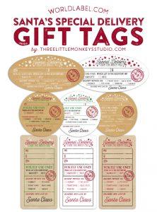 free printable customizable gift tags santa gift tags