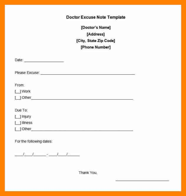 Free Printable Doctors Excuse For Work | Template Business