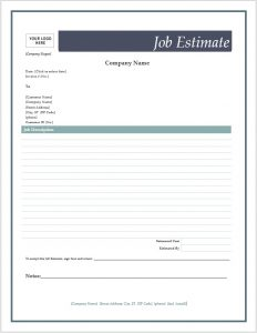 free printable estimate forms job estimate form