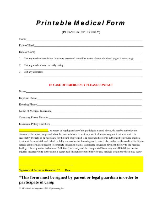 Free Printable Medical Forms | Template Business