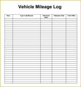 free printable mileage log mileage tracking template mileage log template pdf