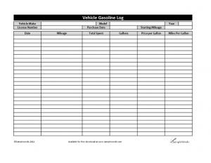 free printable mileage log vehicle gasoline log template