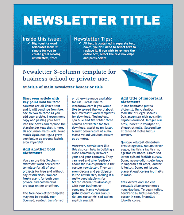 free printable newsletter templates
