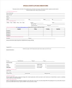free printable order forms special events cupcake order form