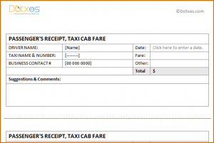 free printable promissory note taxi receipt template taxi receipt template per page featured image