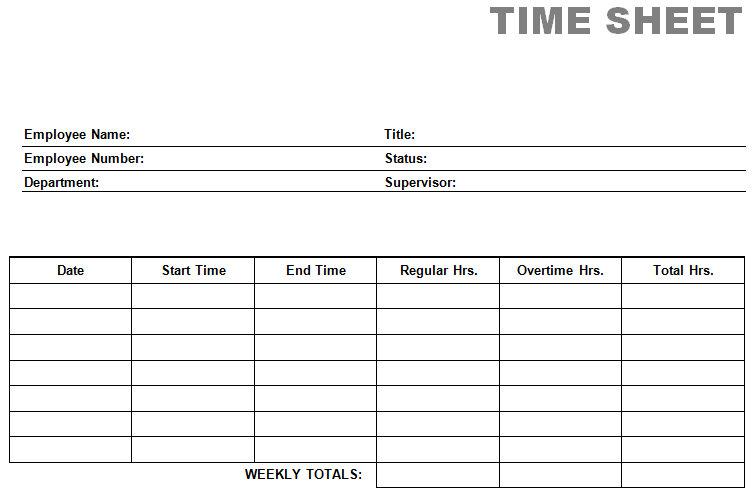 free printable time sheets