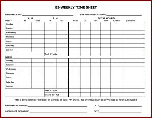 free printable time sheets printable weekly time sheet