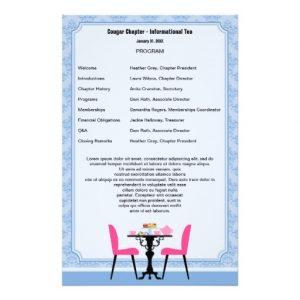 free printable wedding program templates word tea party program template