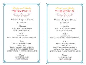 free printable wedding program templates word wedding reception menu template x