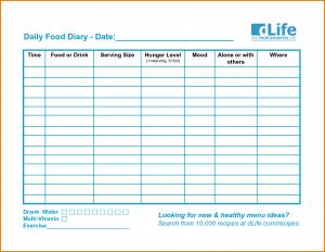 free program template food log template