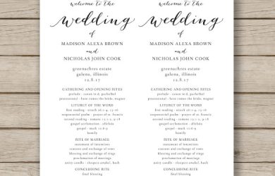 free program templates print ready wedding program template download