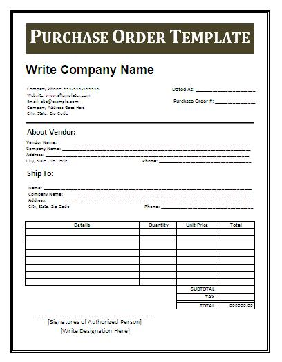 free purchase order template