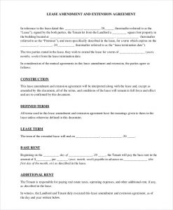 free rental agreement forms lease amendment and extension agreement