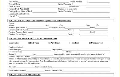 free rental application form free rental application form