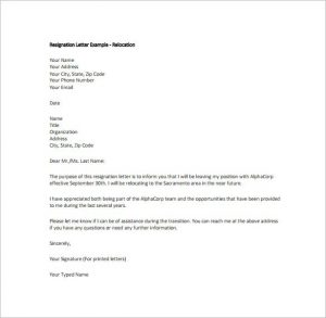 free resignation letter example relocation resignation letter free pdf dow