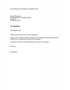 free resignation letter resignation letter template
