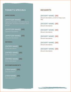 free restaurant menu templates for word free menu templates for word restaurant menu template