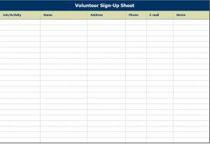 free sign up sheet sheets volunteer sign up sheet template sample free download
