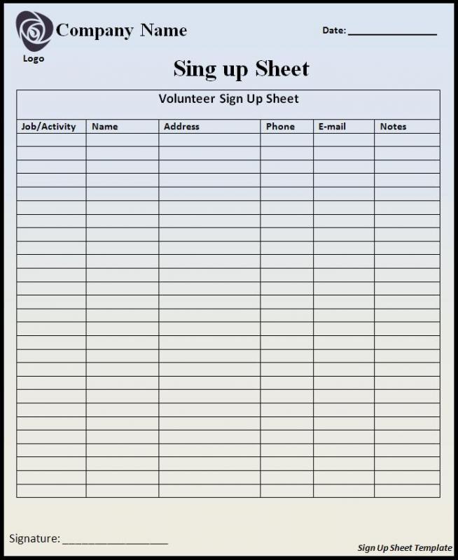 free sign up sheet