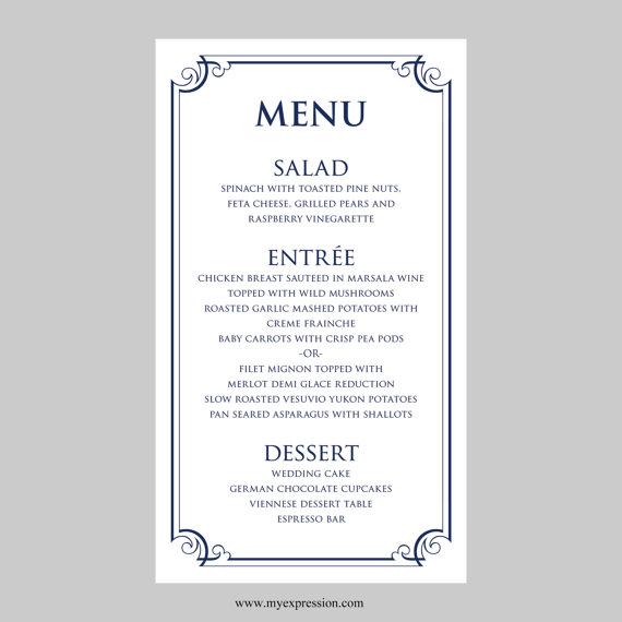 free wedding menu templates