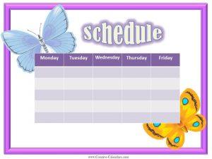 free weekly schedule template weekly calendars girls