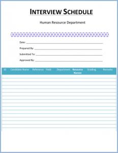 free work schedule template blank interview schedule template