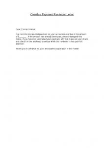 friendly payment reminder letter samples overdue payment reminder letter
