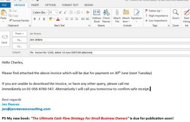 friendly reminder email chasing single invoice