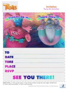 frozen bday invites trolls printable invitation