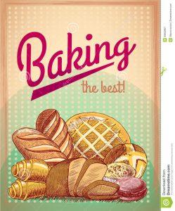 fundraiser flyer template baking best pastry poster food template bread cake assortment vector illustration