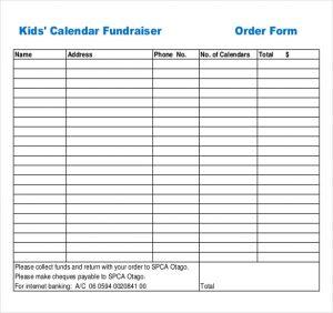 fundraiser order form example kids calendar fundraiser order form download