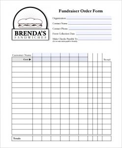 fundraiser order form template fundraiser order form template