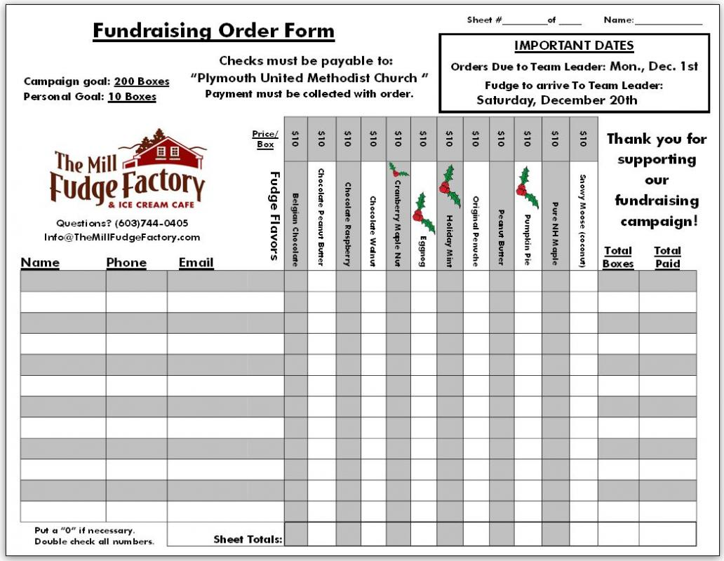 fundraising order form templates