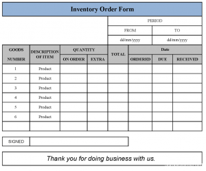 fundraising order form templates inventory order form