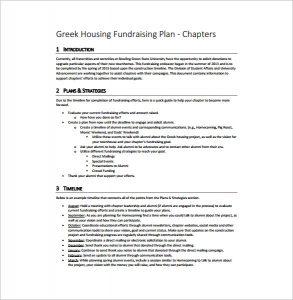 fundraising plan template greek housing fundraising plan free pdf template