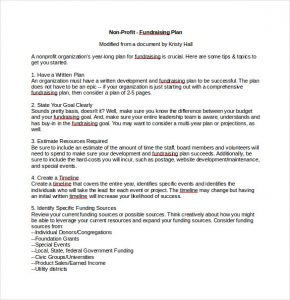 fundraising plan template non profit fundraising plan sample word template free download