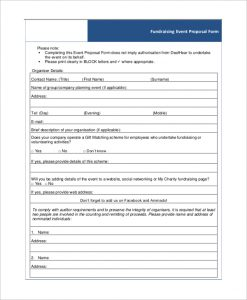 fundraising plan templates fundraising event proposal form