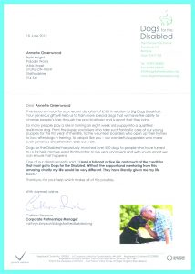 fundraising thank you letter dogs for diabled thank you letter