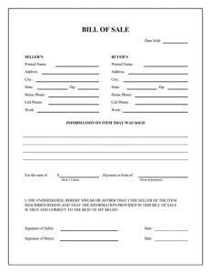 general bill of sale pdf general bill of sale form