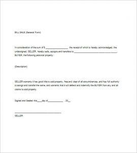 general bill of sale pdf general bill of sale word template