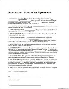 general contractor agreement independent contractor agreement template free download