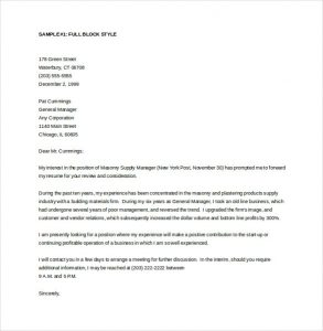 general cover letter template general manager cover letter word template free download