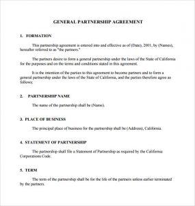 general partnership agreement general partnership agreement download