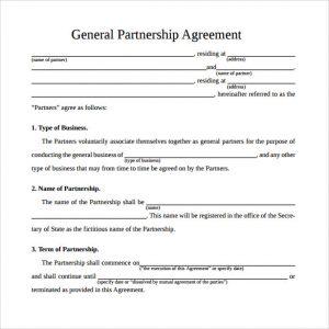 general partnership agreement simple general partnership agreement
