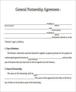 general partnership agreement template general partnership agreement form