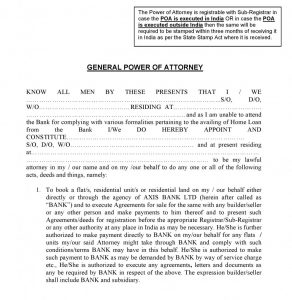 general power of attorney sample axis bank power of attorney india e x