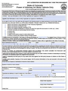 general power of attorney template colorado vehicle poa form