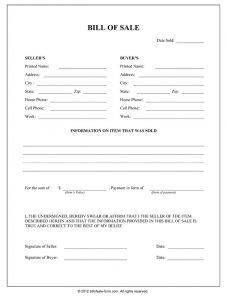 generic bill of sale general bill of sale form